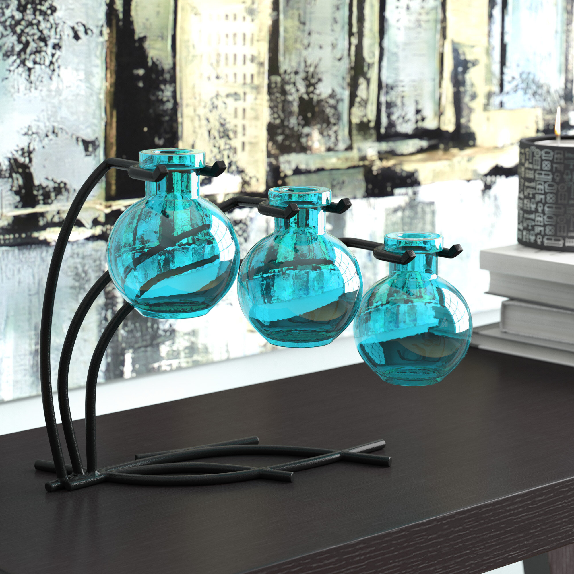 Ebern Designs Creative 3 Piece Table Vase Set & Reviews | Wayfair