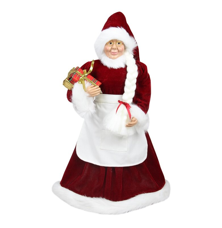 Northlight Standing Mrs Claus With Braided Hair And Gifts