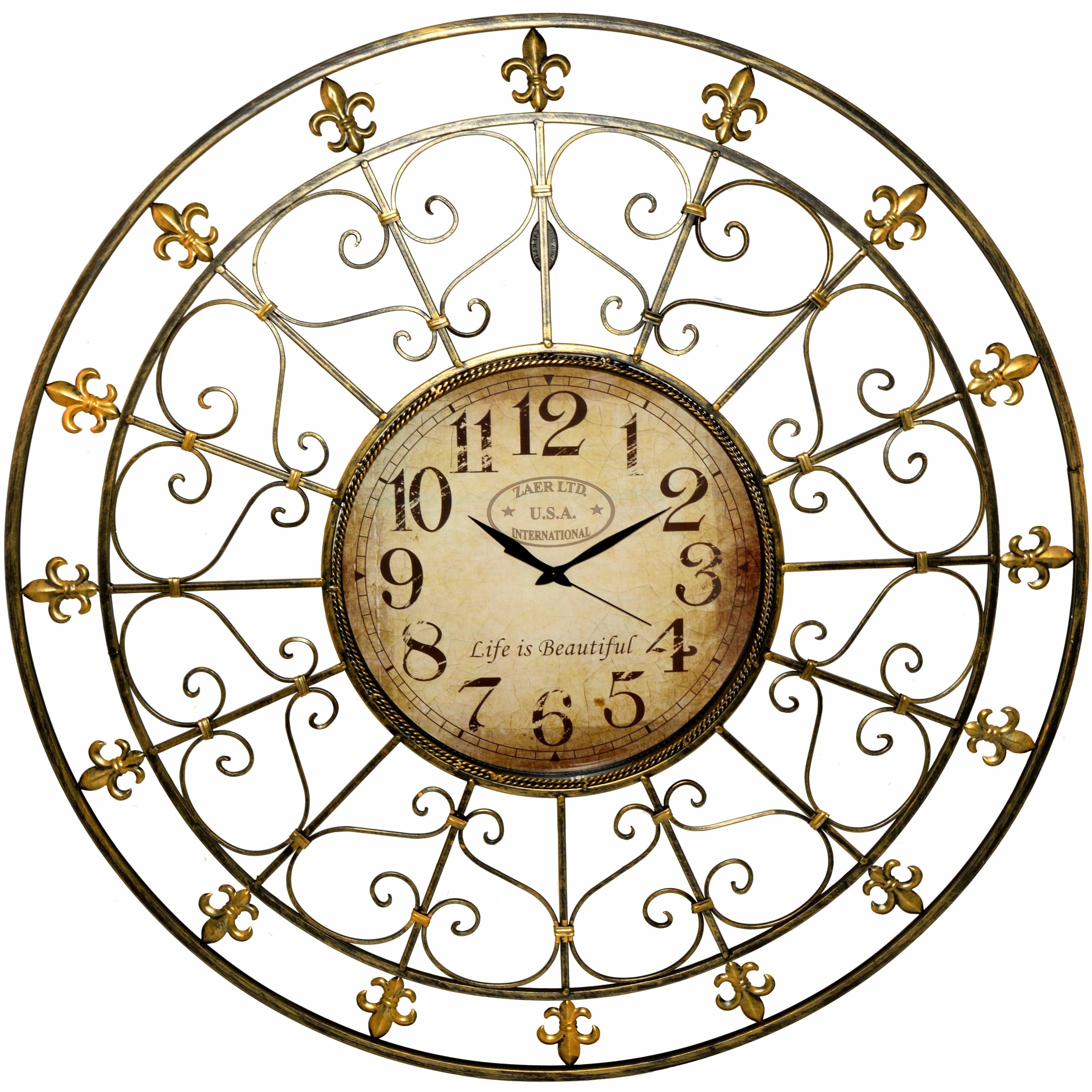 Fleur De Lis Living Willsey Oversized Fleur De Lis Wall Clock