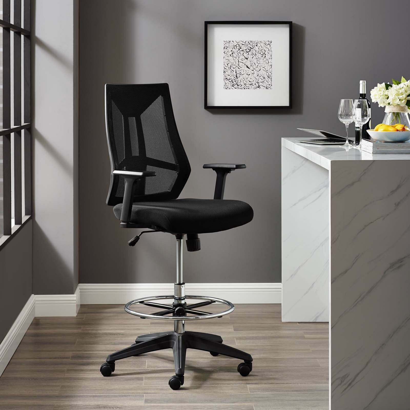 Sensational Citronelle Ergonomic Mesh Drafting Chair Home Interior And Landscaping Ponolsignezvosmurscom