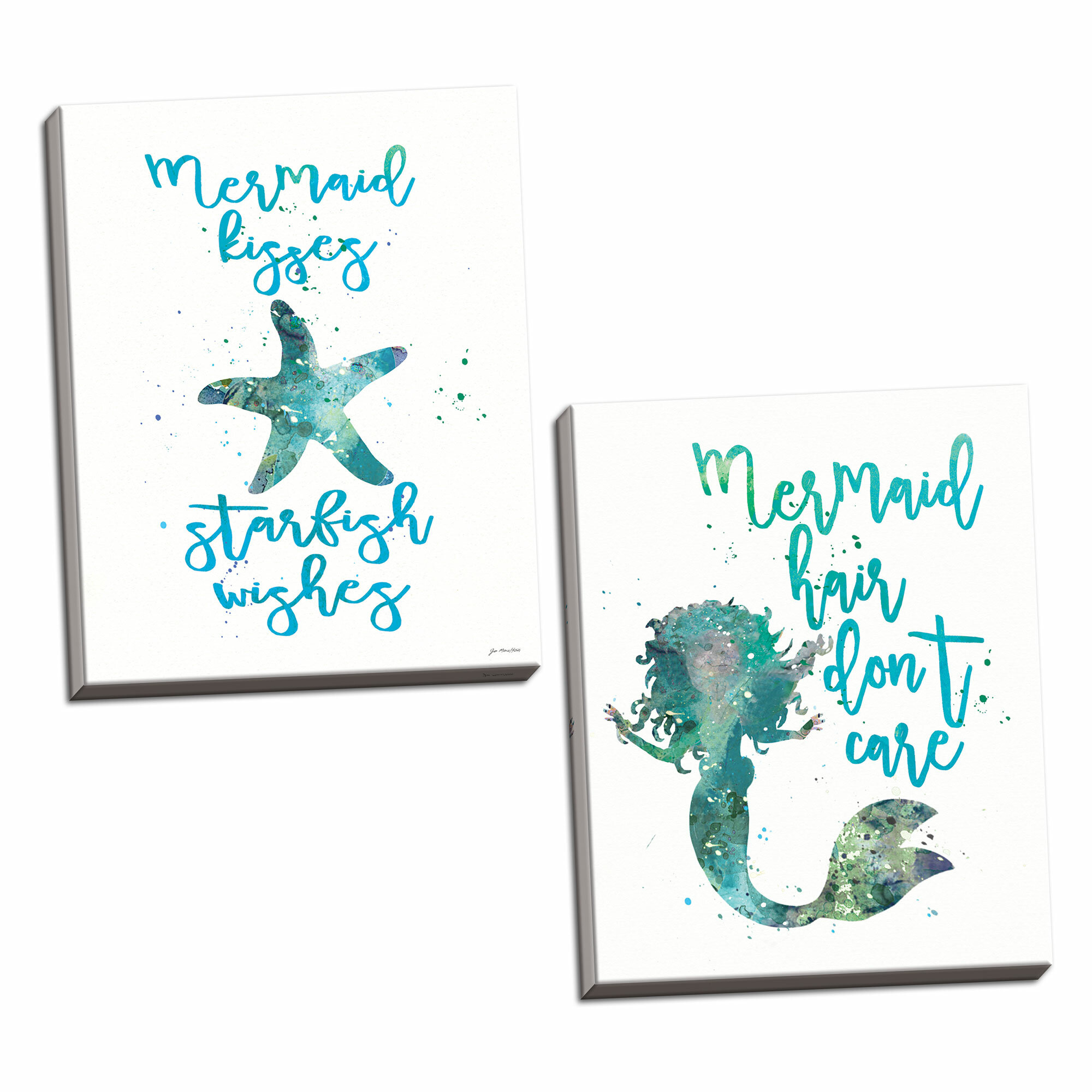 36a4aa354 Rosecliff Heights Chelvey Beautiful Nautical Teal and Blue 'Mermaid Hair  Don't Care and Mermaid Kisses, Starfish Wishes' Print | Wayfair