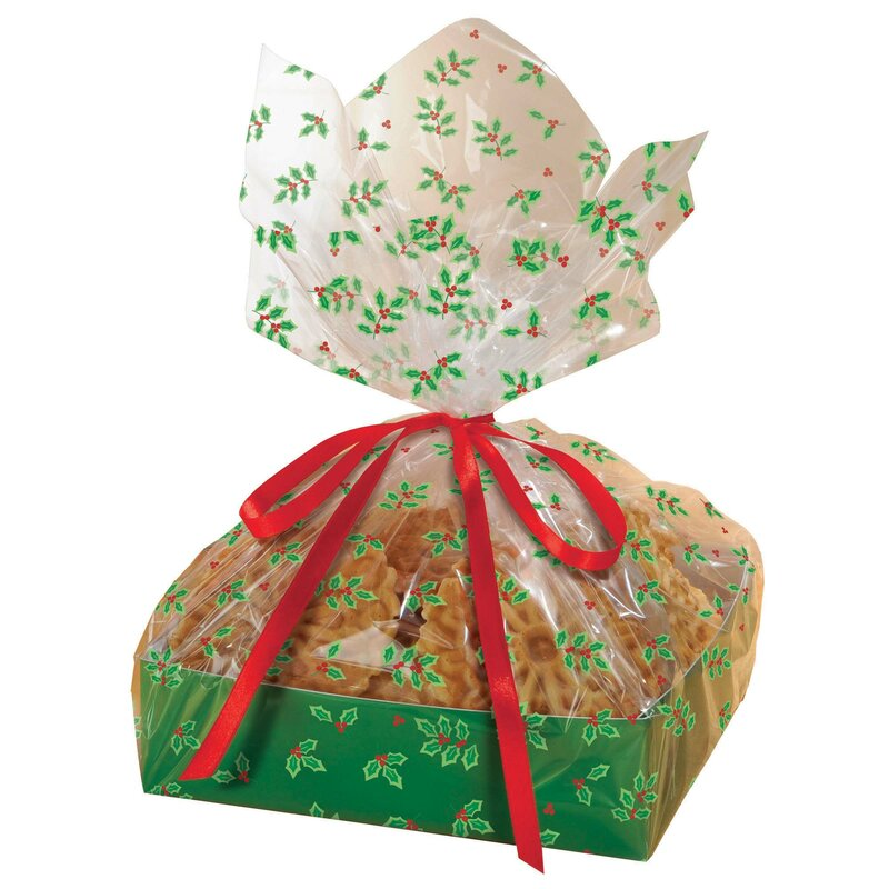 christmas holly large treat trays with cellophane bags