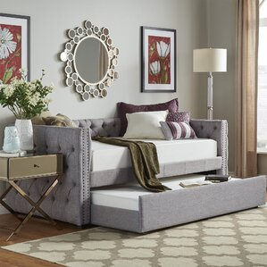Scribner Button Tufted Linen Daybed with Trundle by Three Posts