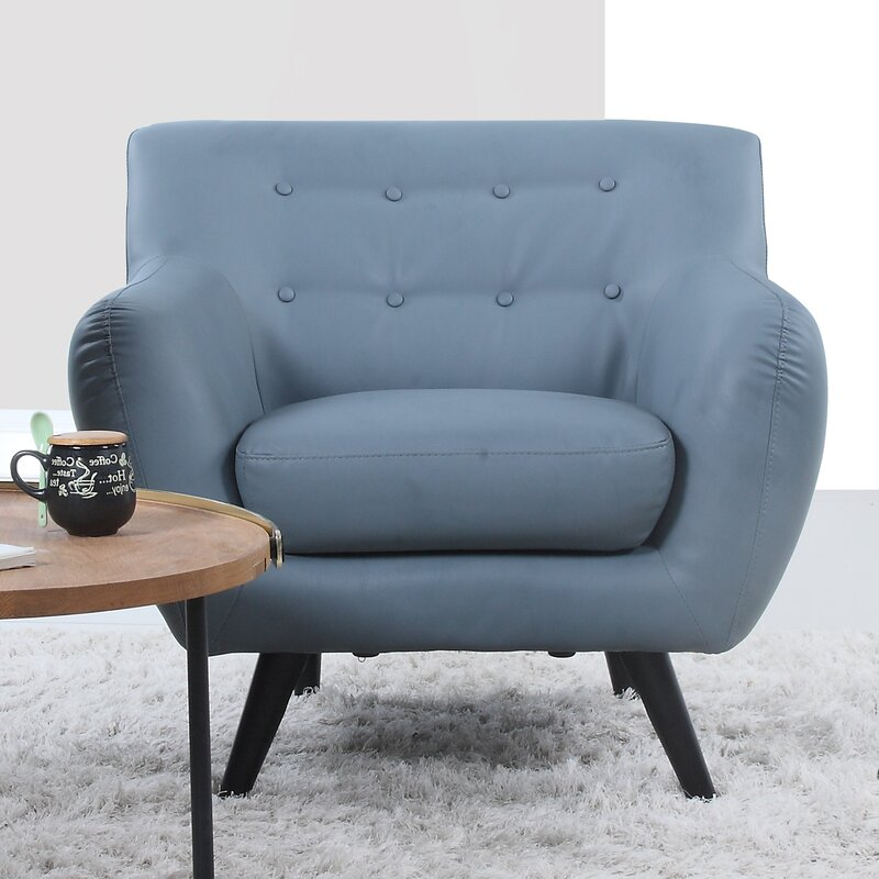 Mid Century Modern Tufted Bonded Leather Armchair