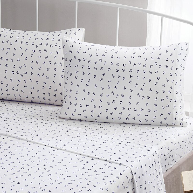 Anchor 100% Printed Cotton Jersey Sheet Set