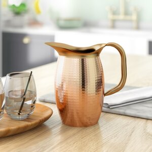 Hyacinth 2 Qt. Solid Copper Hammered Water Pitcher