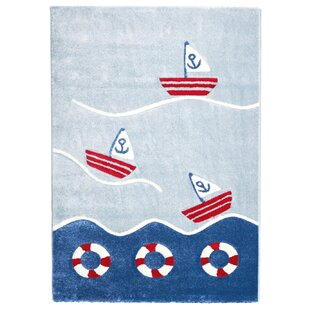 On the High Sea Blue/Red Rug by Livone