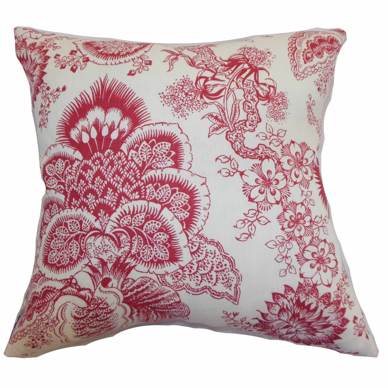 The Pillow Collection Paionia Floral Linen Throw Pillow Wayfair
