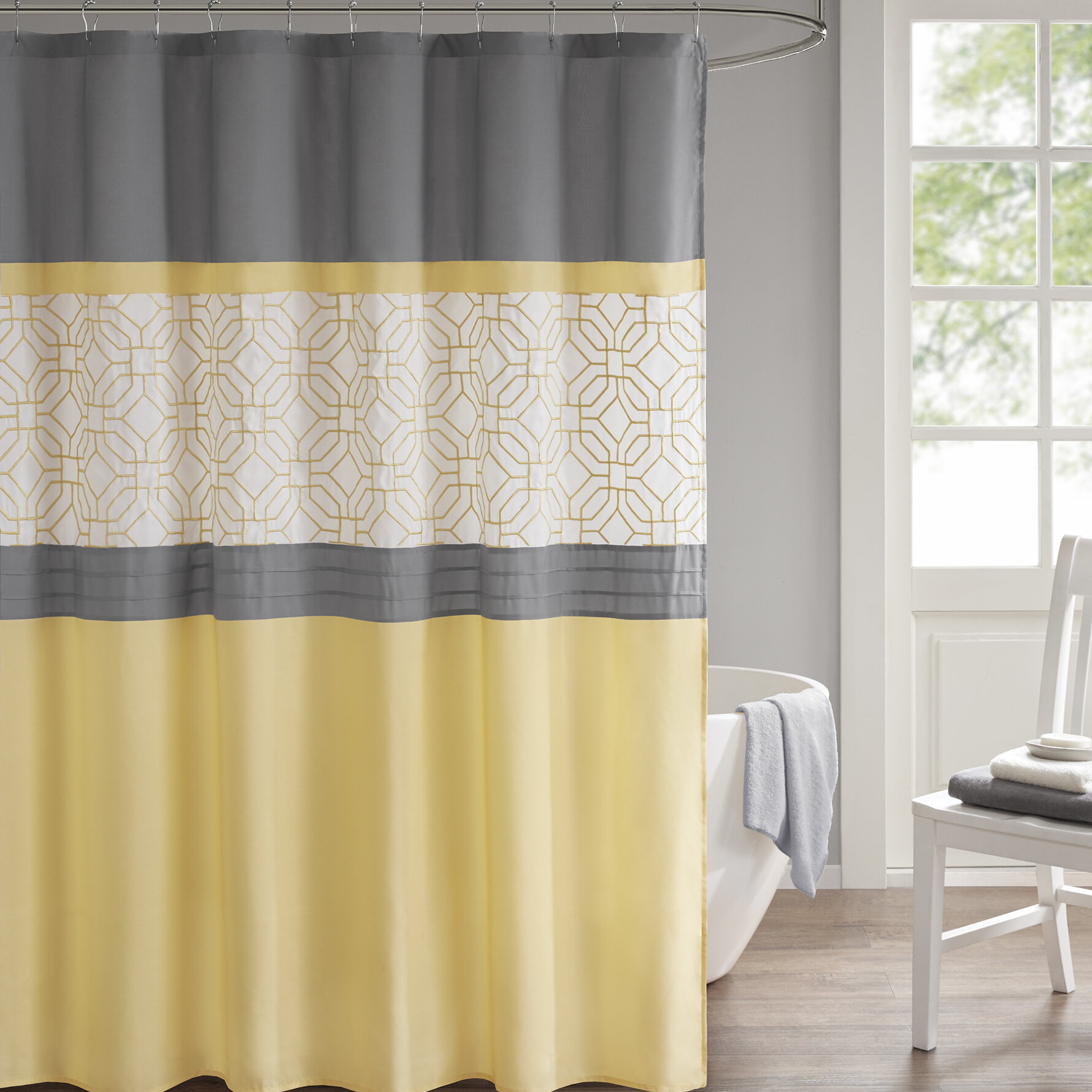 Wrought Studio Osterman Embroidered Shower Curtain
