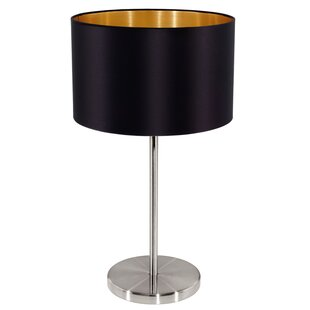 Brass table lamp black shade wayfair save mozeypictures Gallery