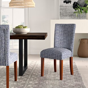 Kelsi Upholstered Parsons Chair in Blue (Set of 2)