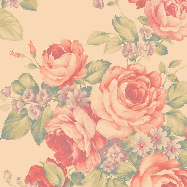 "Abby Rose III 32.7' x 20.5"" Grand Floral Wallpaper Roll"