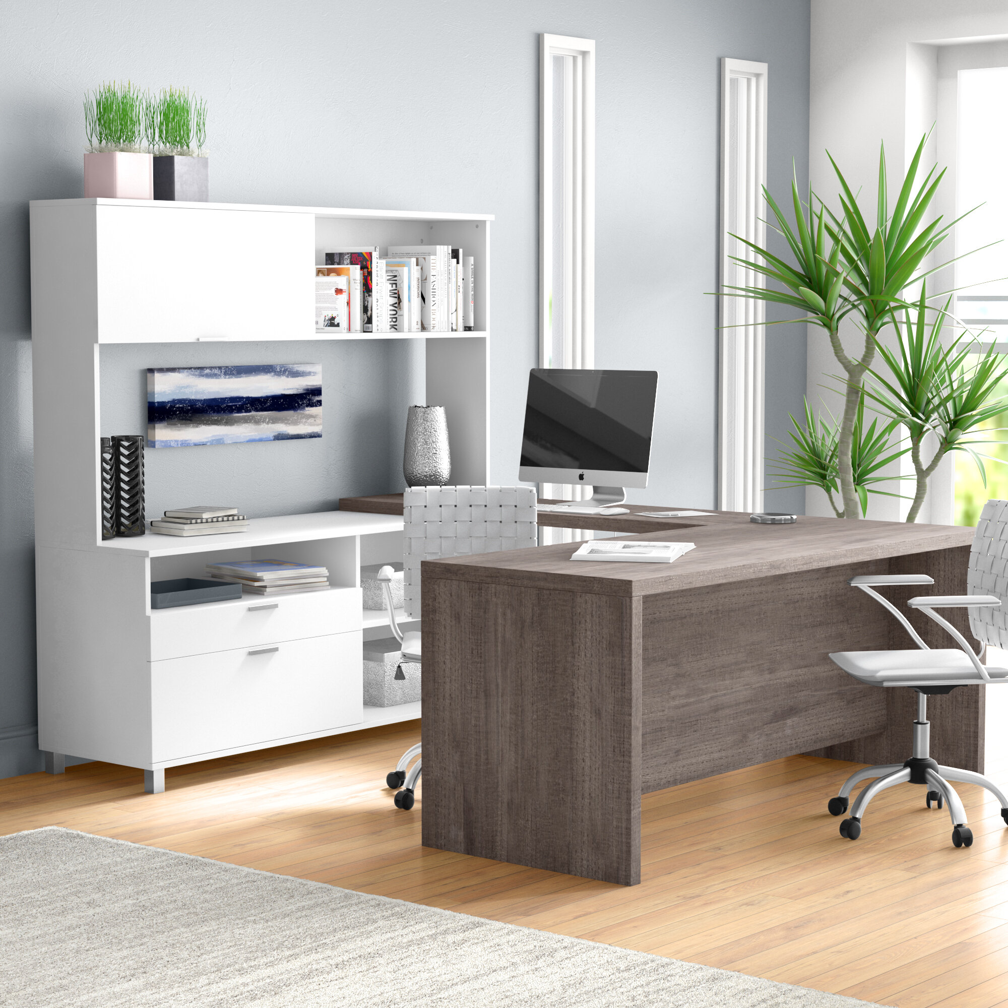 Mercury Row Ariana 4 Piece U Shape Desk Office Suite U0026 Reviews | Wayfair