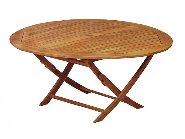 Northlight Acacia Wood Outdoor Patio Furniture Round Folding Table U0026  Reviews   Wayfair