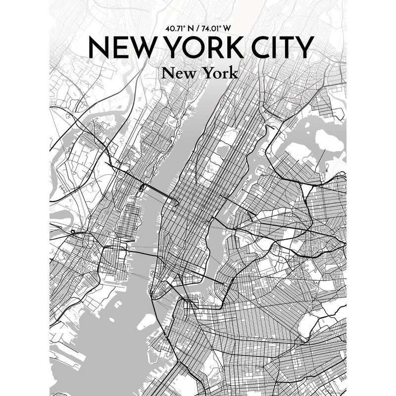 Map Of New York Poster.New York City Map Graphic Art Print Poster In Tones