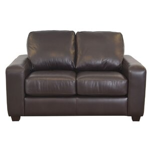 Hanson Genuine Top Grain Leather Loveseat by Westland and Birch