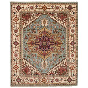 One Of A Kind Doerr Hand Knotted Light Blue Wool Area Rug