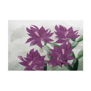 Amanda Christmas Cactus Floral Print Purple/Green Indoor/Outdoor Area Rug