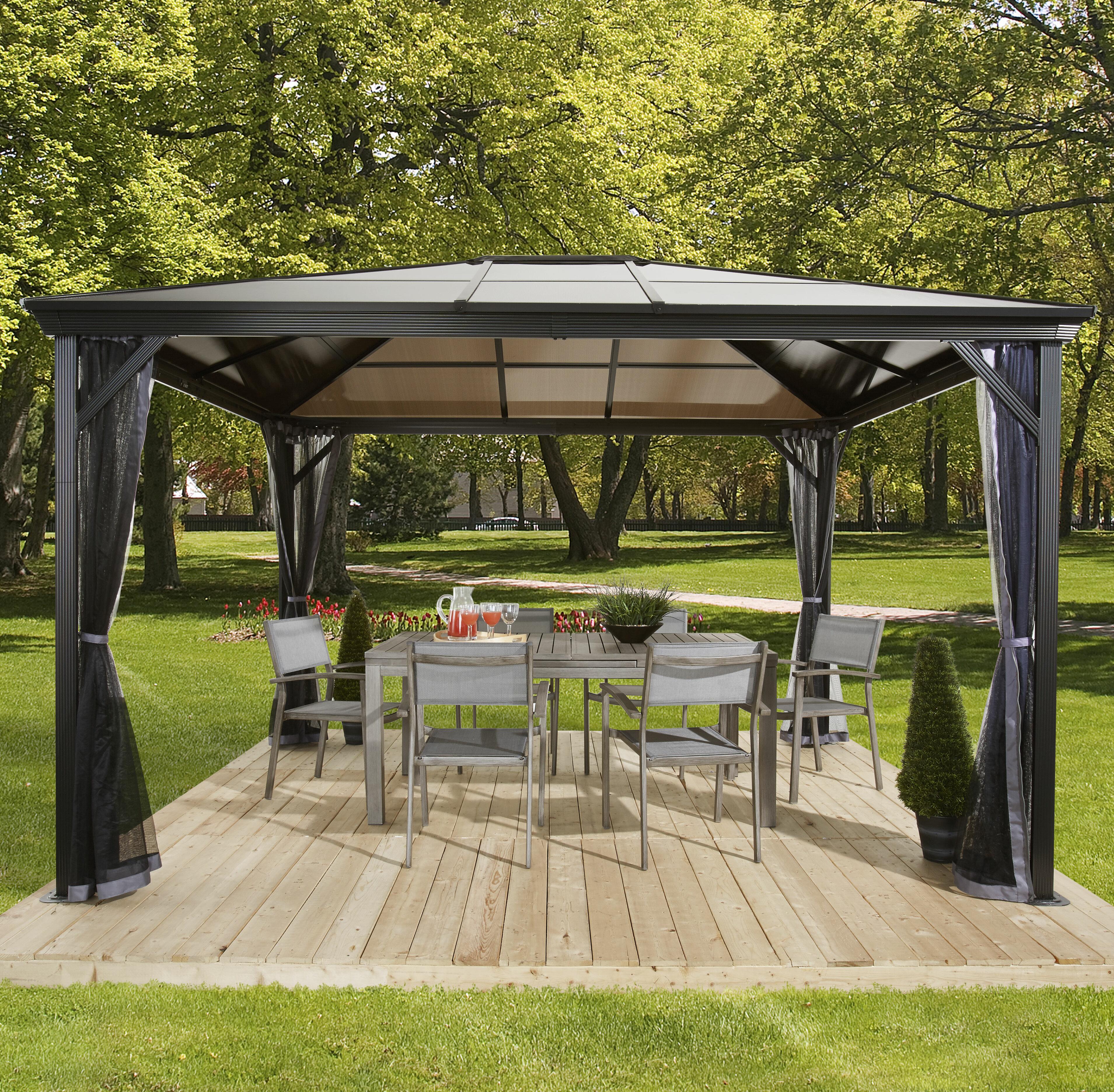 outdoor aluminum hardtop w mosquito outsunny patio living pole gazebo netting