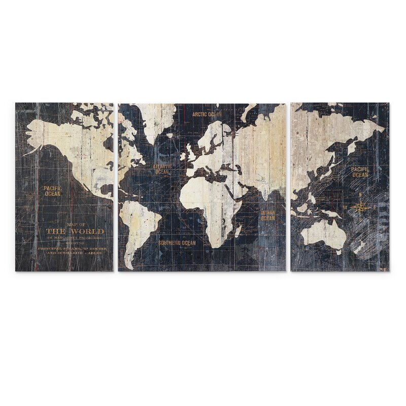 Mercury Row 'Old World Map Blue' 3 Piece Graphic Art Print Set on Wrapped  Canvas & Reviews | Wayfair