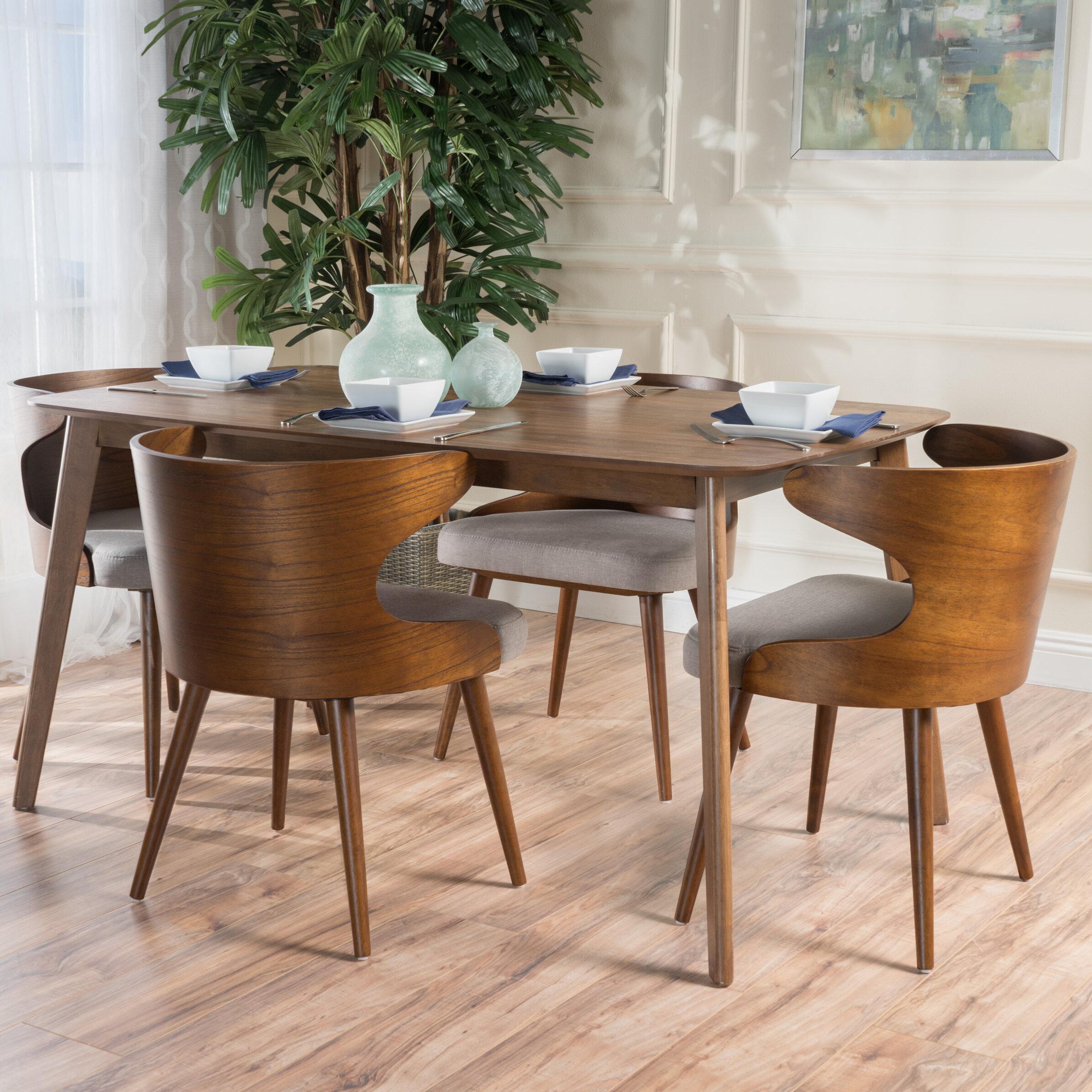 Great Langley Street Camille 5 Piece Walnut Mid Century Dining Set | Wayfair
