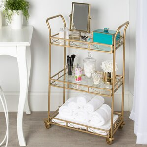 Rebecca Metal 3 Tiered Tray Bar Cart by Mistana