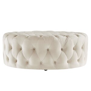 Sagebrush Round Tufted Ottoman by Three Posts