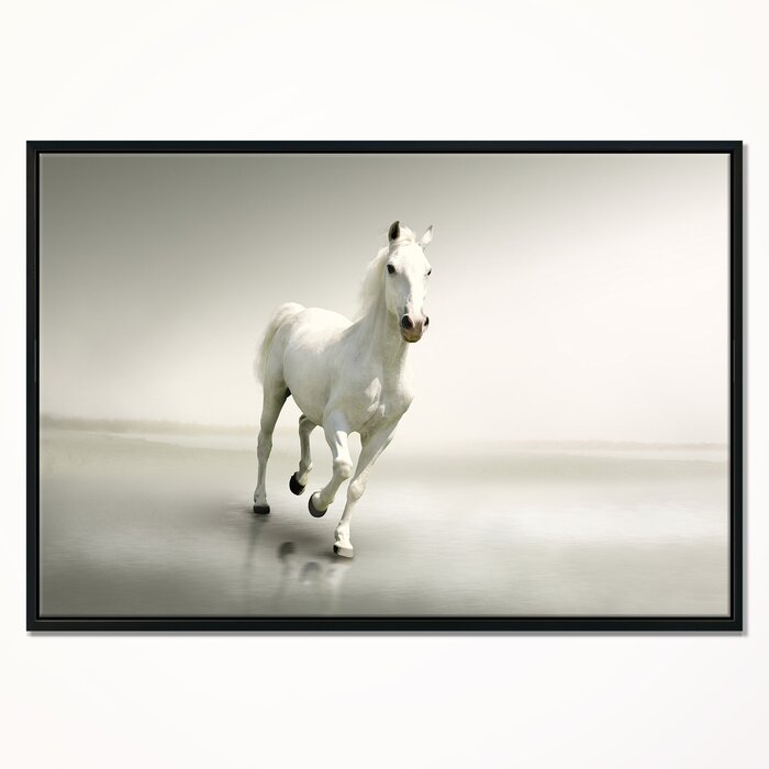 East Urban Home \'Beautiful White Horse Running\' Framed Graphic Art ...
