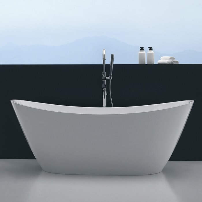 "orren ellis opalo 60"" x 27"" freestanding soaking bathtub 