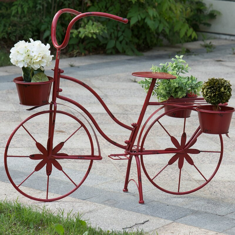 Garden Décor Alert White Bicycle Basket Metal Home Office Garden Decor Plant Stand Outdoor Indoor A Complete Range Of Specifications