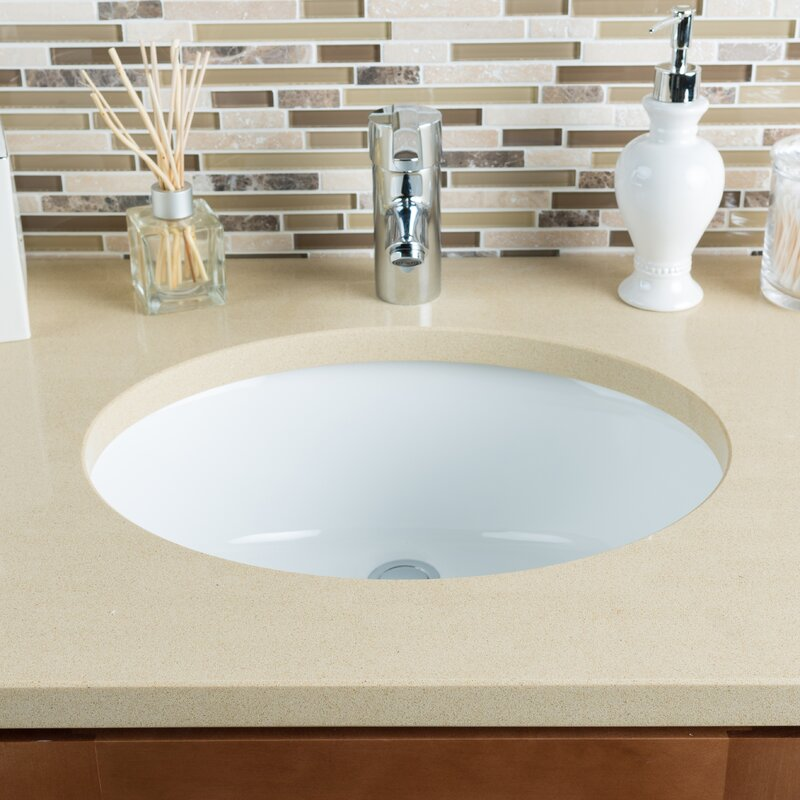 ceramic bowl oval undermount bathroom sink with overflow