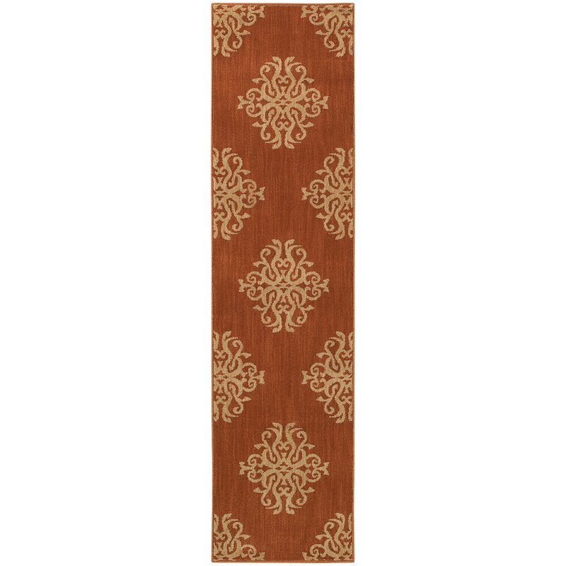 Alcott Hill Alfreda Orange Area Rug, Size: Runner 11 x 76