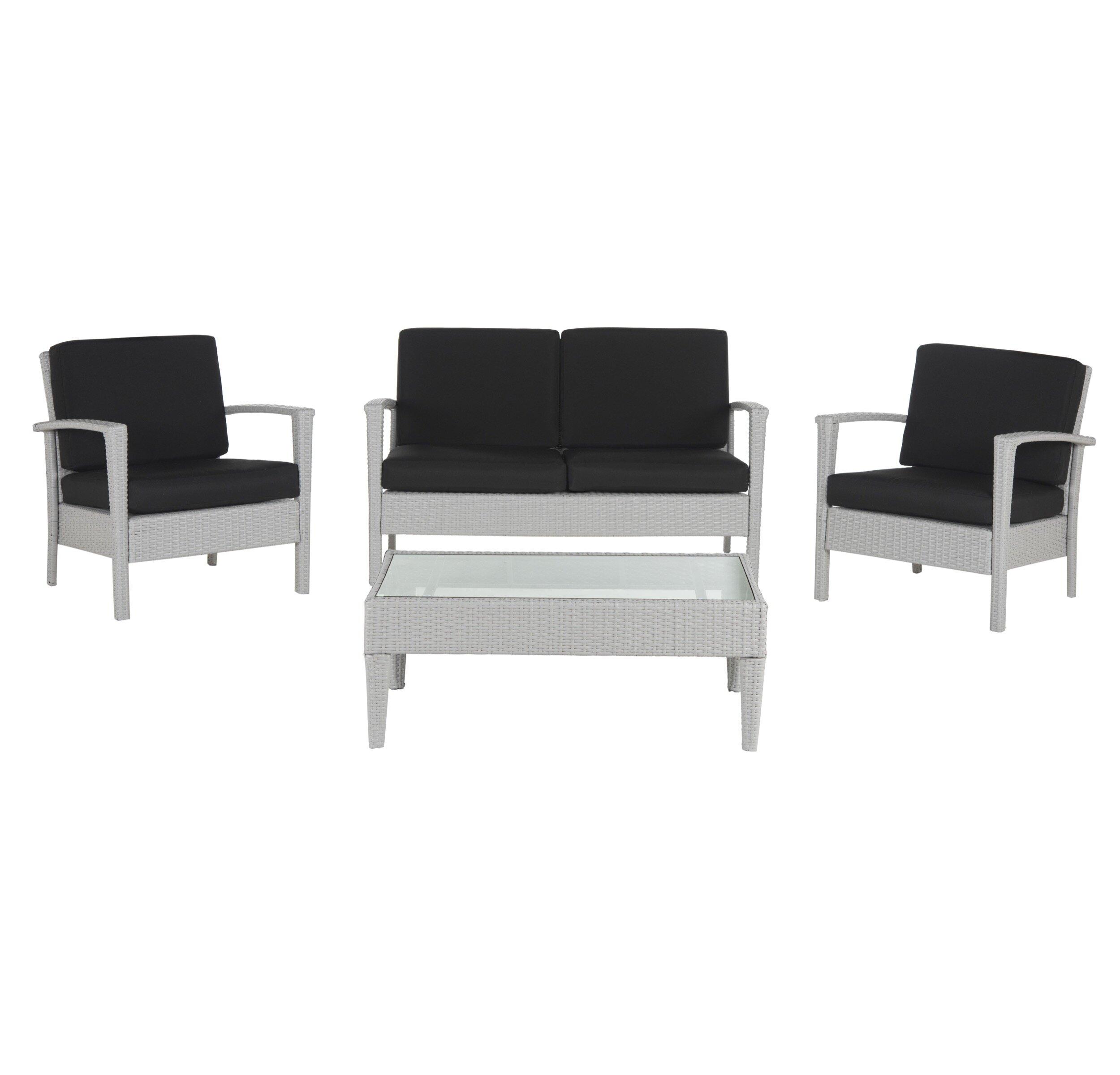 Cade 4 Piece Rattan Sofa Seating Group With Cushion
