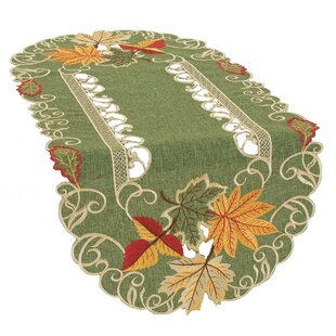 Delicate Leaves Embroidered Cutwork Fall Table Runner