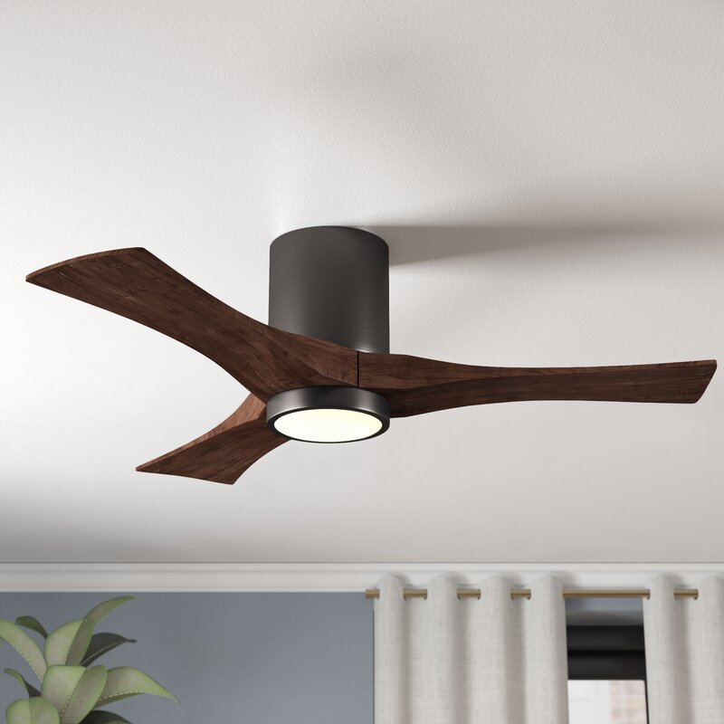 Wade Logan 52 Rosalind 3 Blade Hugger Ceiling Fan With Wall Remote And Light Kit Reviews Wayfair