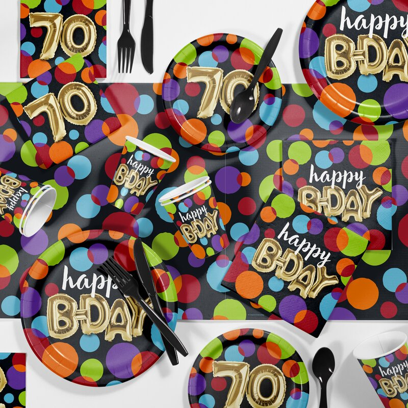 Creative Converting Balloon 70th Birthday Party Paper Plastic Supplies Kit