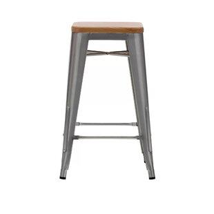 Cocchiara 26 Bar Stool with Wood Seat (Set of 4)
