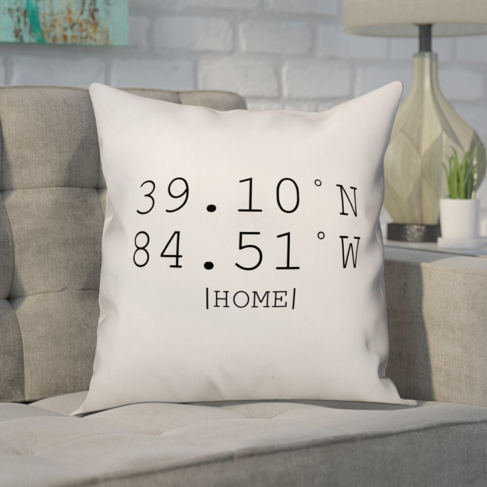 Ivy Bronx Buntin Longitude And Latitude Coordinates Throw Pillow  ~ How To Coordinate Throw Pillows For Sofa And Chairs