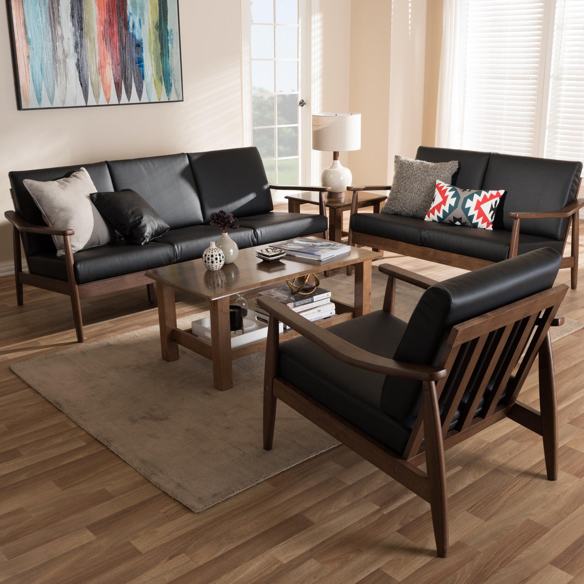 Millwood pines leaman mid century modern 3 piece wood frame living room set wayfair