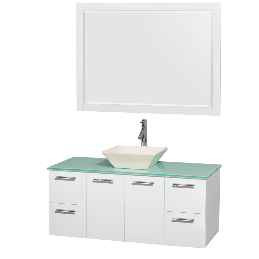 Wyndham Collection Amare 48 Single White Bathroom Vanity Set With Mirror Reviews Wayfair