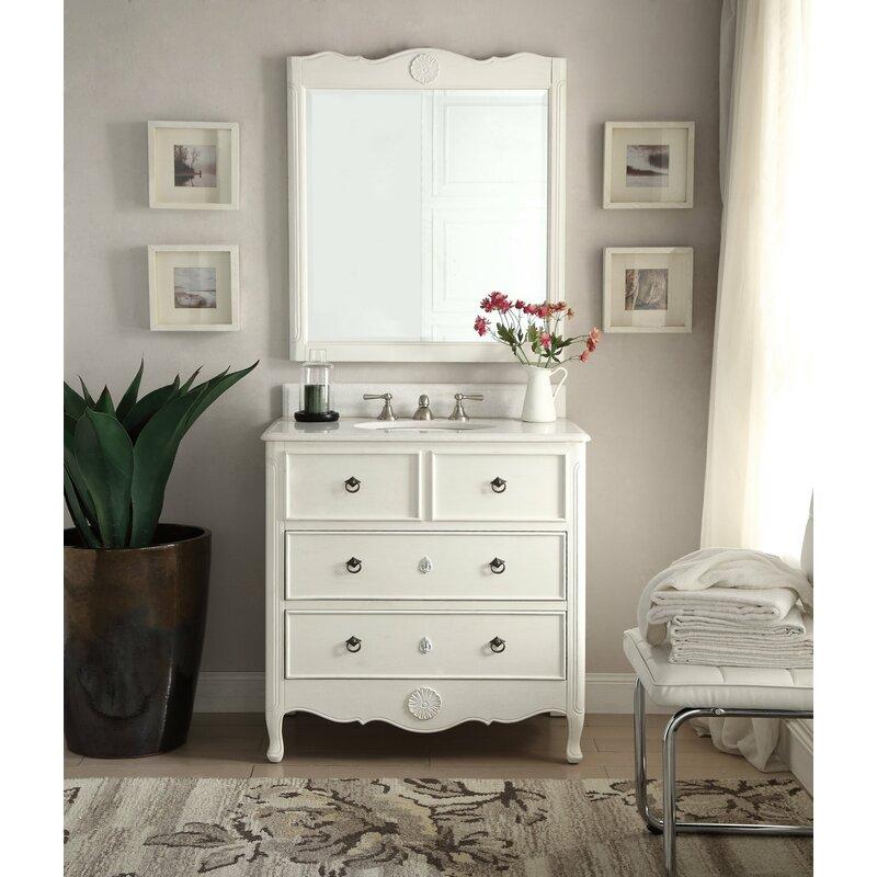 Nallely 34 Single Solid Wood Bathroom Vanity Set With Mirror