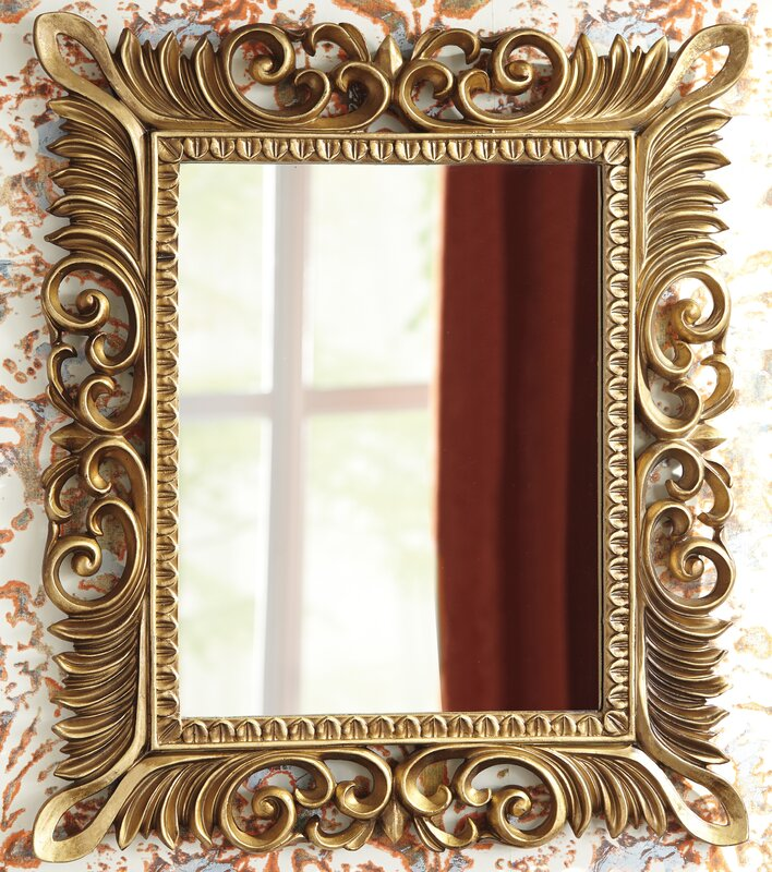 Rectangle antique gold wall mirror
