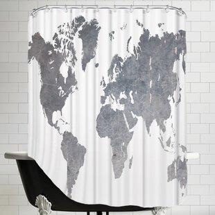 Ikonolexi World Map1 Shower Curtain