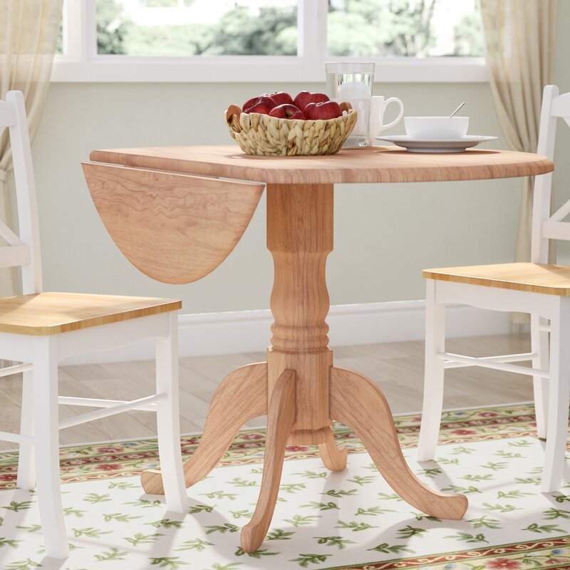 August Grove Carrie Round  Dual Drop Leaf Dining Table - Dining room table with leaf