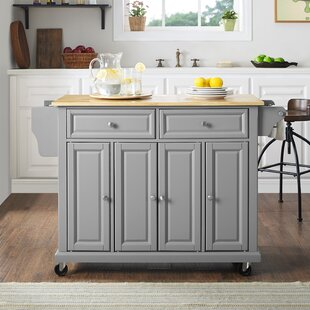 Hedon Kitchen Island with Natural Wood Top