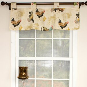 Rooster Strut Speckle Tab Curtain Valance