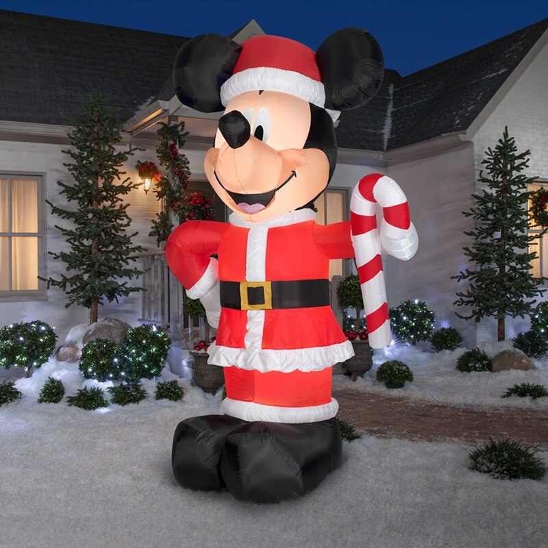 The Holiday Aisle Disney Santa Mickey with Candy Cane Inflatable ...