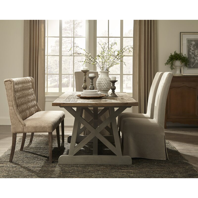 Linen Floor Length Slip Covered Upholstered Dining Chair