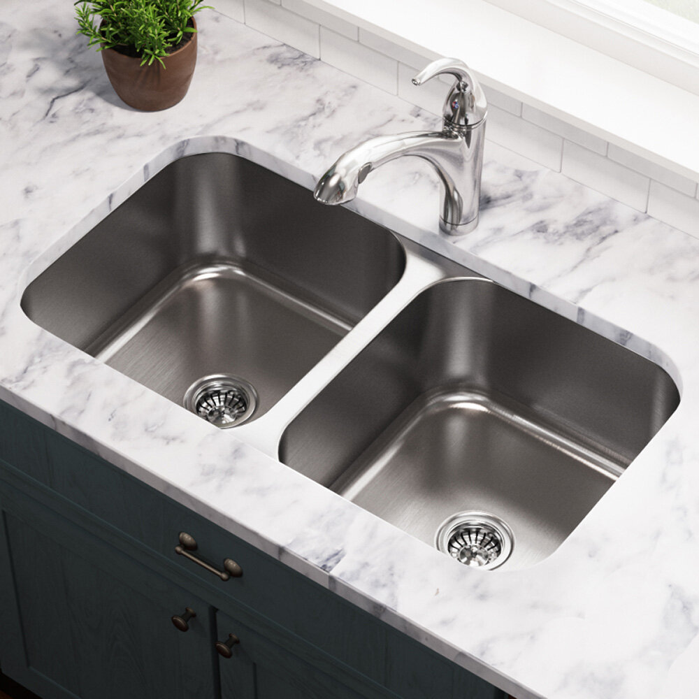 mrdirect stainless steel 33 x 18 double basin undermount kitchen rh wayfair com undermount corner double kitchen sink double bowl corner kitchen sink undermount