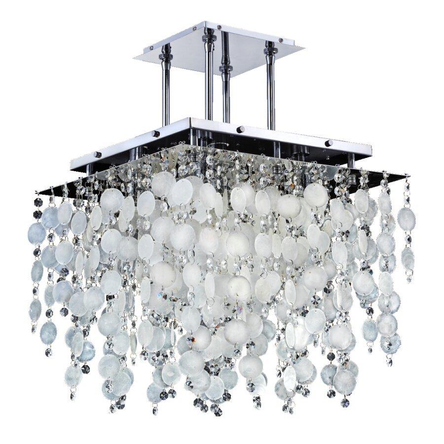 Glow Lighting Cityscape Capiz Shell 5 Light Novelty Chandelier Wayfair Each Bulb On A Standard String Of 50 Drops 25v The 120v